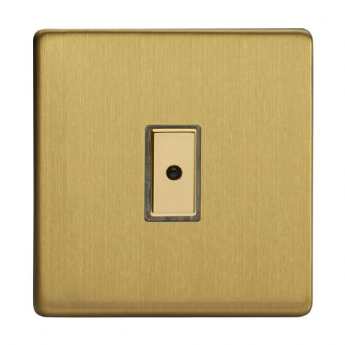 Varilight JDBE101S Screwless Brushed Brass 1 Gang V-Pro Remote/Touch Master LED Dimmer 0-100W